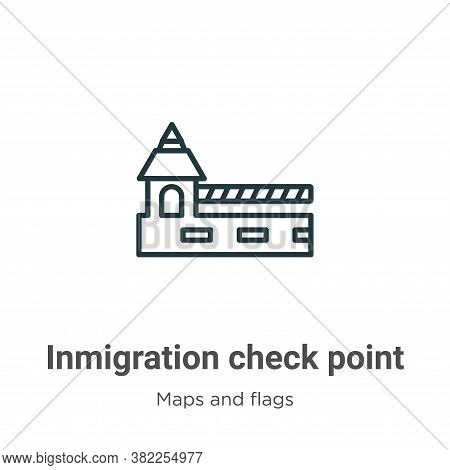 Inmigration check point icon isolated on white background from maps and flags collection. Inmigratio