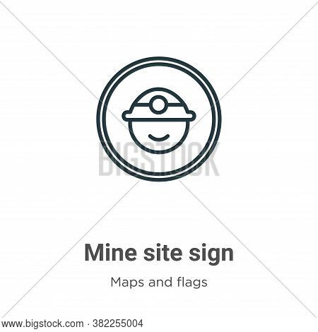 Mine site sign icon isolated on white background from maps and flags collection. Mine site sign icon