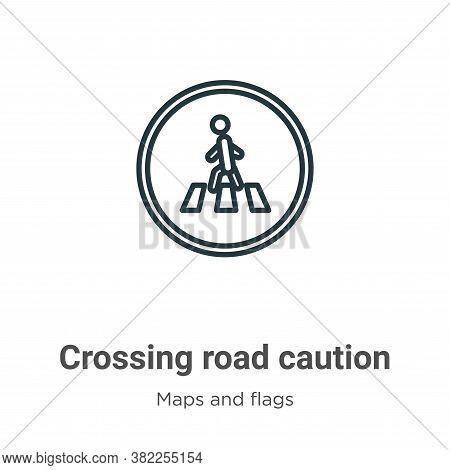 Crossing road caution icon isolated on white background from maps and flags collection. Crossing roa