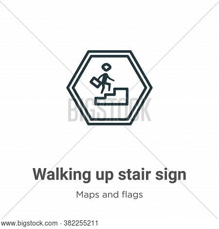 Walking up stair sign icon isolated on white background from maps and flags collection. Walking up s