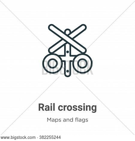 Rail crossing icon isolated on white background from maps and flags collection. Rail crossing icon t