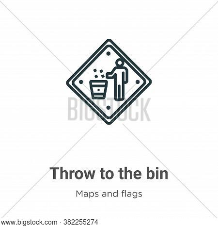 Throw to the bin icon isolated on white background from maps and flags collection. Throw to the bin