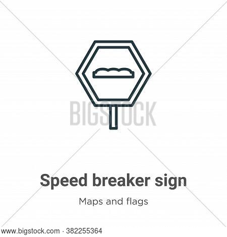 Speed breaker sign icon isolated on white background from maps and flags collection. Speed breaker s