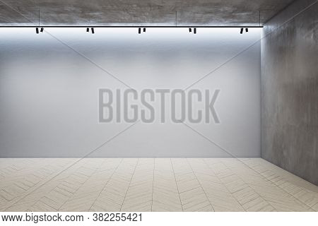 Gallery Interior With Ceiling Lamp And Empty Concrete Wall. Gallery Concept. Mock Up, 3d Rendering