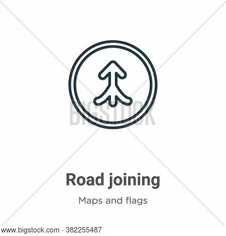 Road joining icon isolated on white background from maps and flags collection. Road joining icon tre