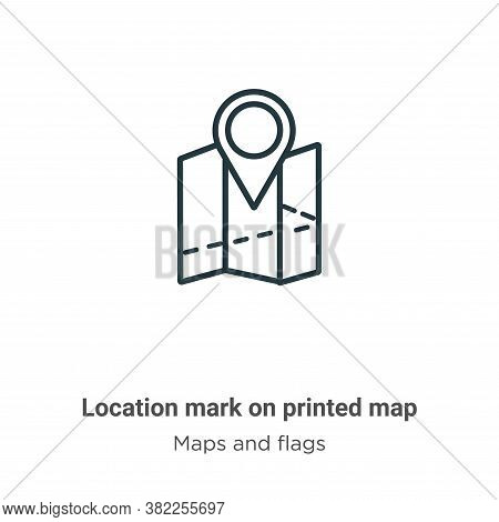 Location mark on printed map icon isolated on white background from maps and flags collection. Locat