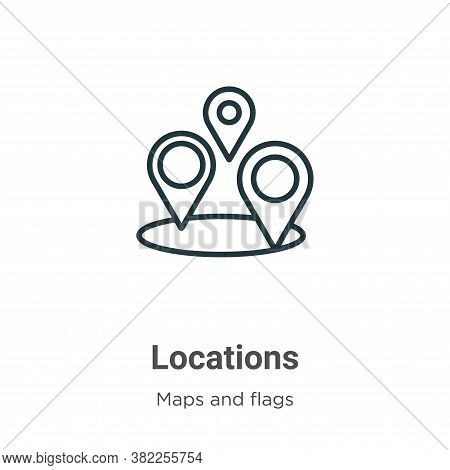 Locations icon isolated on white background from maps and flags collection. Locations icon trendy an