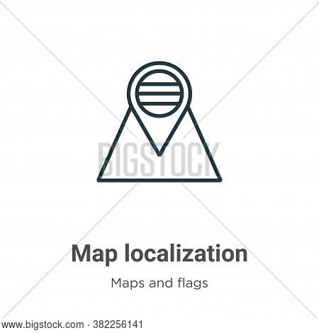 Map localization icon isolated on white background from maps and flags collection. Map localization