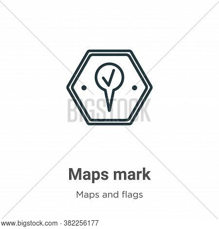 Maps mark icon isolated on white background from maps and flags collection. Maps mark icon trendy an