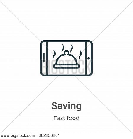 Saving icon isolated on white background from fast food collection. Saving icon trendy and modern Sa