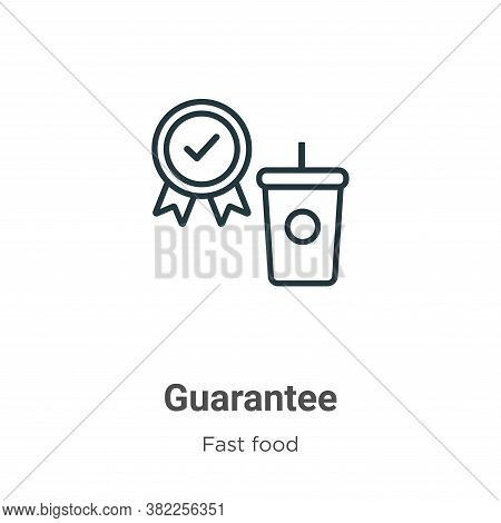Guarantee icon isolated on white background from fast food collection. Guarantee icon trendy and mod