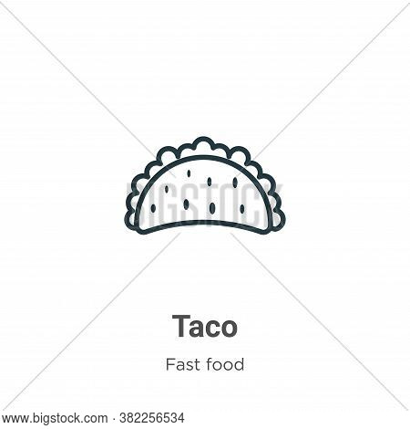 Taco icon isolated on white background from fast food collection. Taco icon trendy and modern Taco s