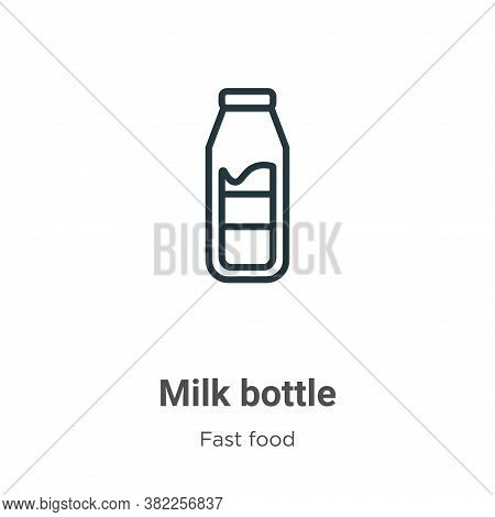 Milk bottle icon isolated on white background from fast food collection. Milk bottle icon trendy and