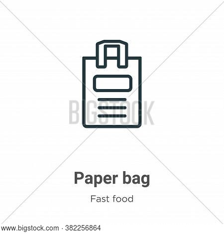 Paper bag icon isolated on white background from fast food collection. Paper bag icon trendy and mod