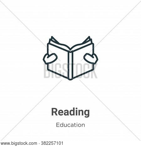 Reading icon isolated on white background from education collection. Reading icon trendy and modern