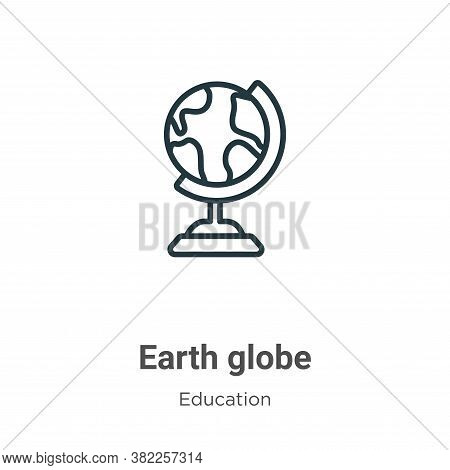 Earth globe icon isolated on white background from education collection. Earth globe icon trendy and