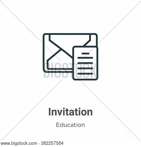 Invitation icon isolated on white background from graduation and education collection. Invitation ic