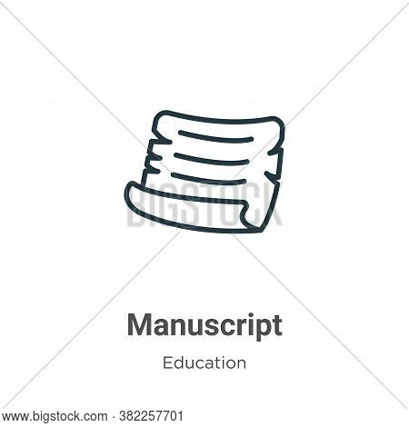 Manuscript icon isolated on white background from literature collection. Manuscript icon trendy and
