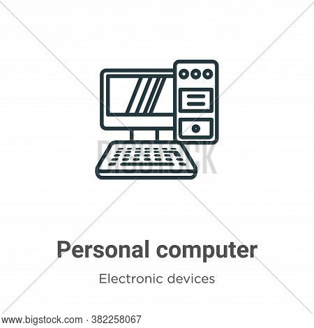 Personal computer icon isolated on white background from electronic devices collection. Personal com