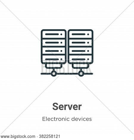 Server icon isolated on white background from electronic devices collection. Server icon trendy and