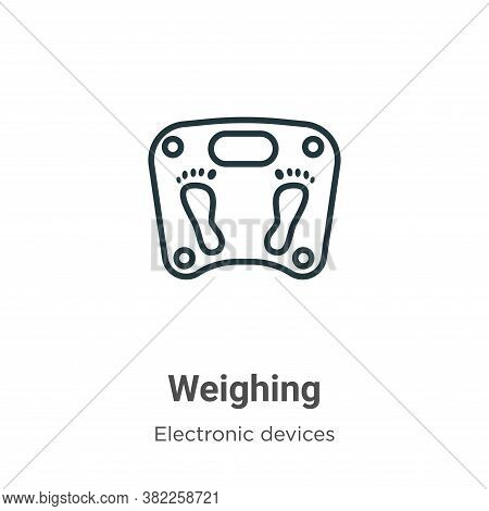 Weighing icon isolated on white background from electronic devices collection. Weighing icon trendy