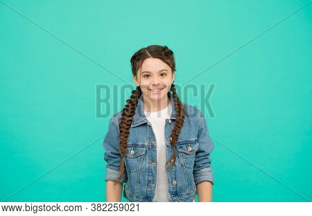Be Your Own Kind Of Beautiful. Happy Child Smile Blue Background. Little Child In Casual Style. Fash