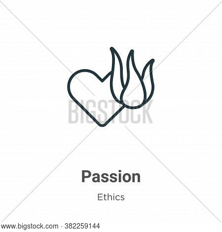 Passion icon isolated on white background from ethics collection. Passion icon trendy and modern Pas