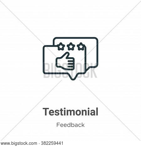 Testimonial icon isolated on white background from feedback collection. Testimonial icon trendy and