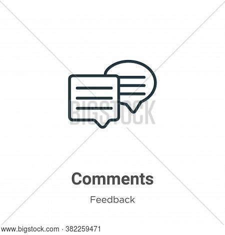 Comments icon isolated on white background from feedback collection. Comments icon trendy and modern