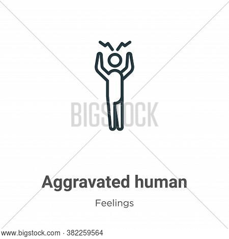 Aggravated human icon isolated on white background from feelings collection. Aggravated human icon t