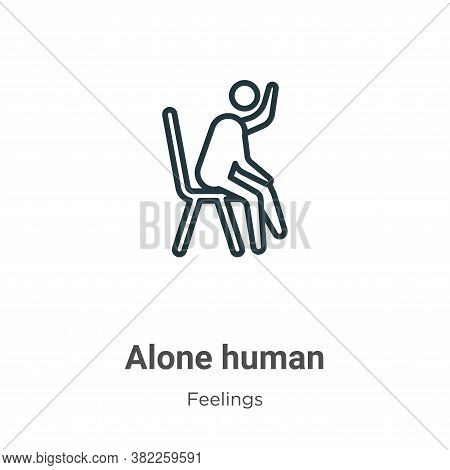 Alone human icon isolated on white background from feelings collection. Alone human icon trendy and