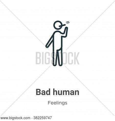 Bad human icon isolated on white background from feelings collection. Bad human icon trendy and mode