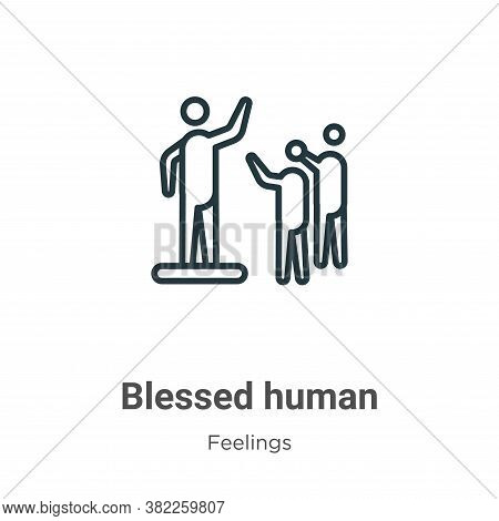 Blessed human icon isolated on white background from feelings collection. Blessed human icon trendy