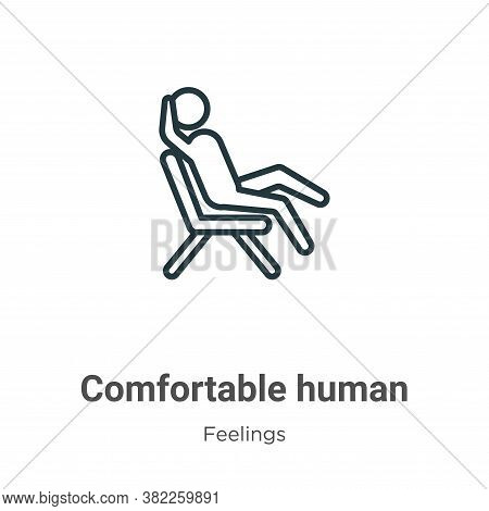 Comfortable human icon isolated on white background from feelings collection. Comfortable human icon