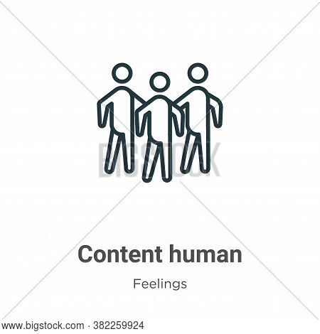 Content human icon isolated on white background from feelings collection. Content human icon trendy