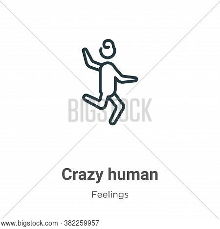 Crazy human icon isolated on white background from feelings collection. Crazy human icon trendy and