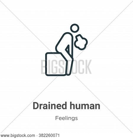 Drained human icon isolated on white background from feelings collection. Drained human icon trendy