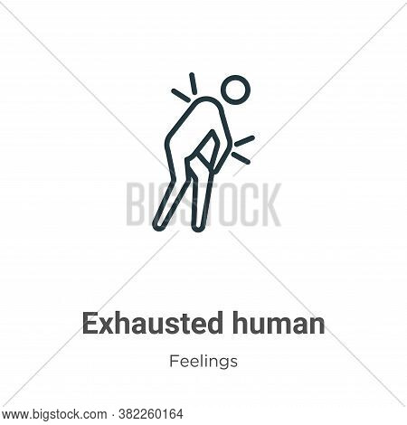 Exhausted human icon isolated on white background from feelings collection. Exhausted human icon tre