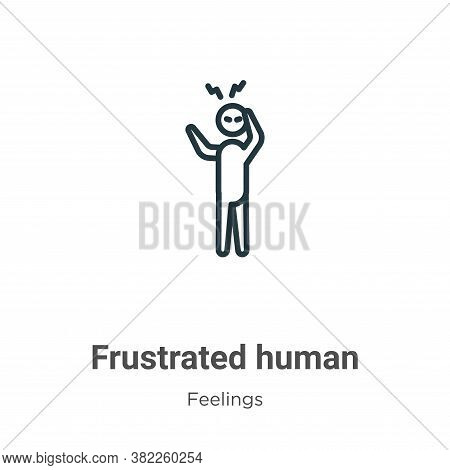 Frustrated human icon isolated on white background from feelings collection. Frustrated human icon t