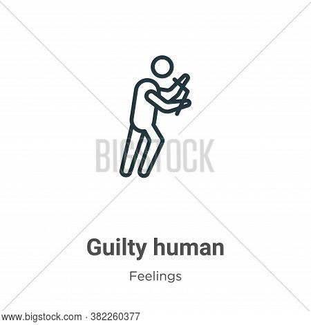 Guilty human icon isolated on white background from feelings collection. Guilty human icon trendy an