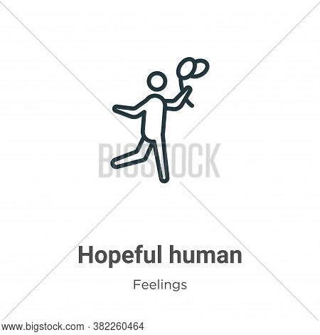 Hopeful human icon isolated on white background from feelings collection. Hopeful human icon trendy