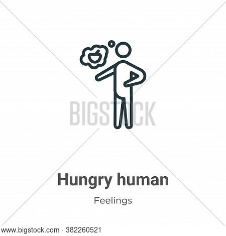 Hungry human icon isolated on white background from feelings collection. Hungry human icon trendy an