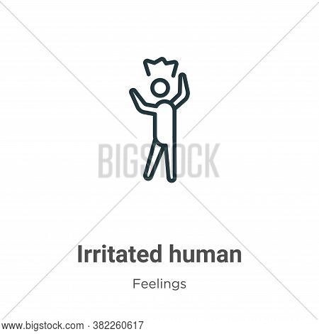 Irritated human icon isolated on white background from feelings collection. Irritated human icon tre
