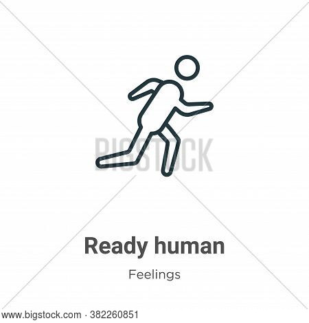 Ready human icon isolated on white background from feelings collection. Ready human icon trendy and