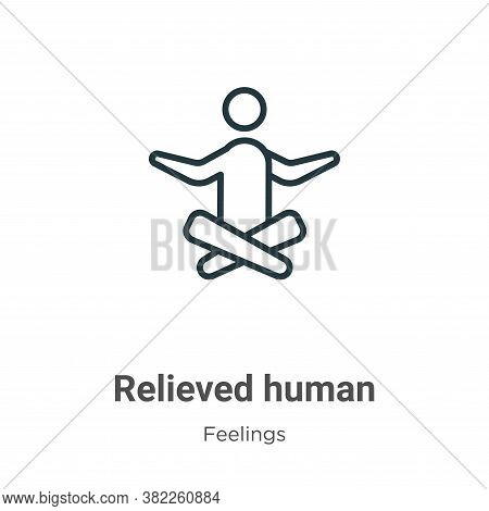 Relieved human icon isolated on white background from feelings collection. Relieved human icon trend