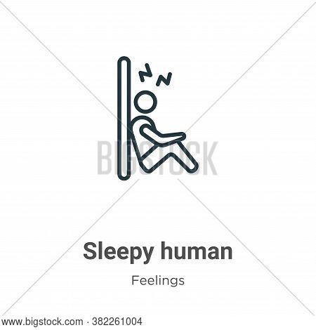 Sleepy human icon isolated on white background from feelings collection. Sleepy human icon trendy an
