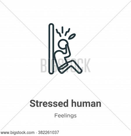 Stressed human icon isolated on white background from feelings collection. Stressed human icon trend
