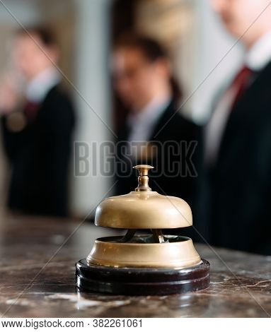 Hotel Service Bell Concept Hotel, Travel, Room, Modern Luxury Hotel Reception Counter Desk On Backgr