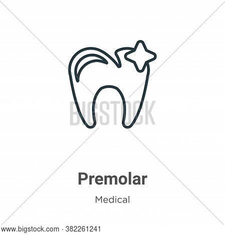 Premolar icon isolated on white background from medical collection. Premolar icon trendy and modern