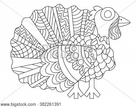 Happy Thanksgiving Day Funny Cartoon Turkey Coloring Page Stock Vector Illustration. Young Alive Tur